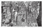 Bas-relief at Abydos, Egypt — Stock Vector