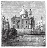 Taj-Mahal, India. Old engraved illustration of the famous Taj-Ma — Stock Vector