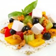 Fresh salad with vegetables, olives and feta cheese — Stock Photo