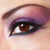 Modern fashion violet makeup of a female eye - macro shot — Stock Photo