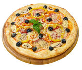 Pizza with cheese, peper, tomato, mushrooms and olives — Stock Photo