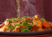 Hot ragout with vegetables and meat — Stock Photo
