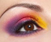 バイオレット、黄色化粧品メイク-u と女性の目の美しい形 — ストック写真