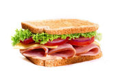 Healthy ham sandwich with cheese and tomatow — Stock Photo