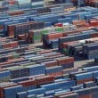 Stacked freight containers — Stock Photo