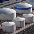 Aerial view of large oil tanks — Stock Photo