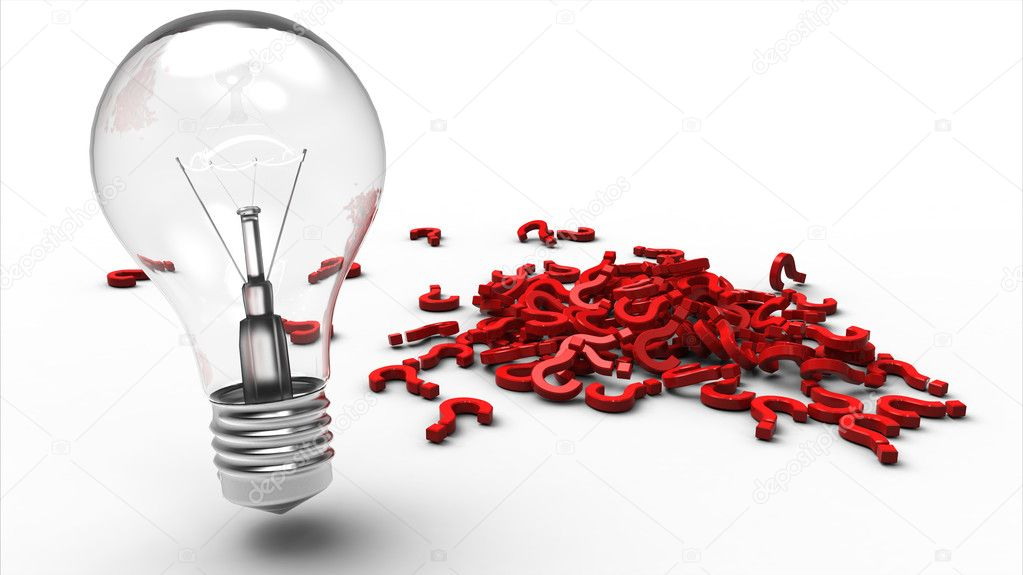 Light bulb next to a pile of red plastic question marks  Stock Photo #5259982