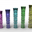 Stock Photo: Rendering of colored glass columns