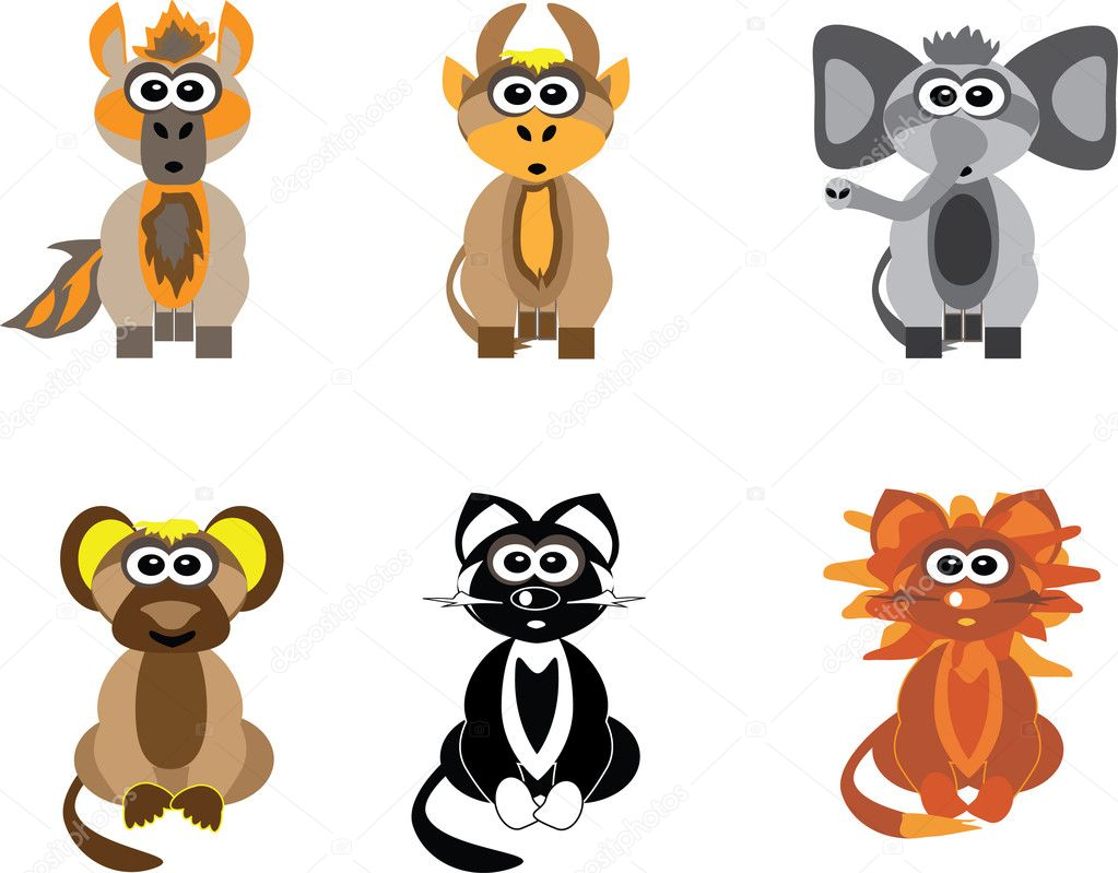 A variety of wild and domestic animals.Pets: horse, ox, cat.Wild animals: elephant, monkey, lion. — Stock Vector #4647882