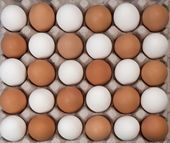 Alernative white and brown eggs — Stock Photo