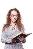 Woman reading old book — Stock Photo