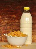 Corn flakes and milk — Stock Photo