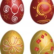 Stock Vector: Icon set of Easter eggs
