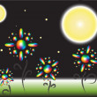 Specral flowers at the nighttime — Stock Vector