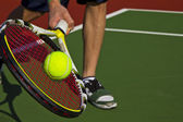 Tennis Player, racket, ball and court — Stock Photo