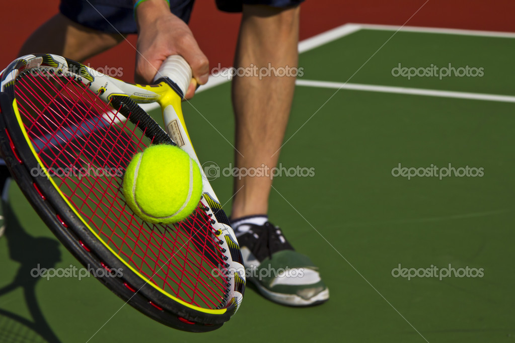 Forehand slice from the baseline during game — Stock Photo #5225260