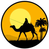 Desert, sunset and the camel — Stock Vector