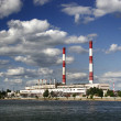 Power plant  over river - Stock Photo