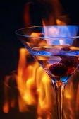 Glass over fire traces — Stock Photo