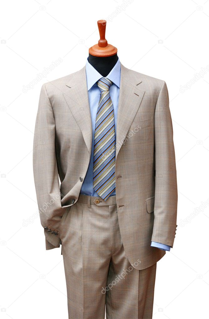 Posh suit on shop mannequin isolated on white — Stock Photo #4722086