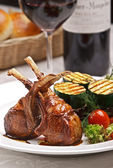 Served Lamb meat with garnish — Stock Photo
