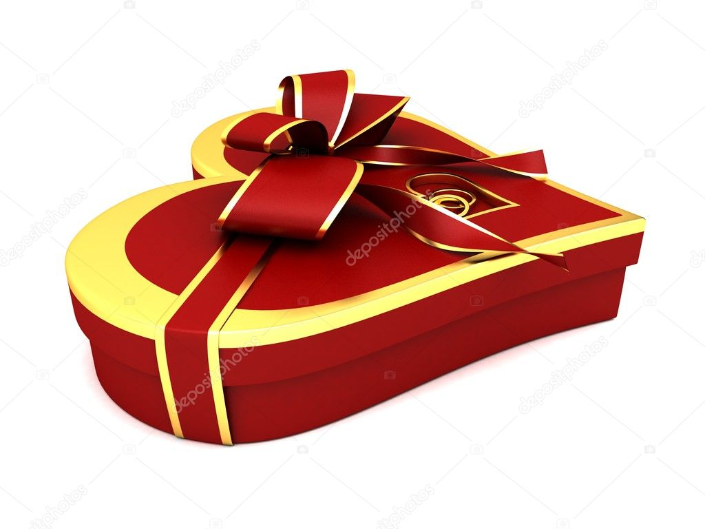 Red gift heart-shaped with a red a bow. — Stock Photo #4916224