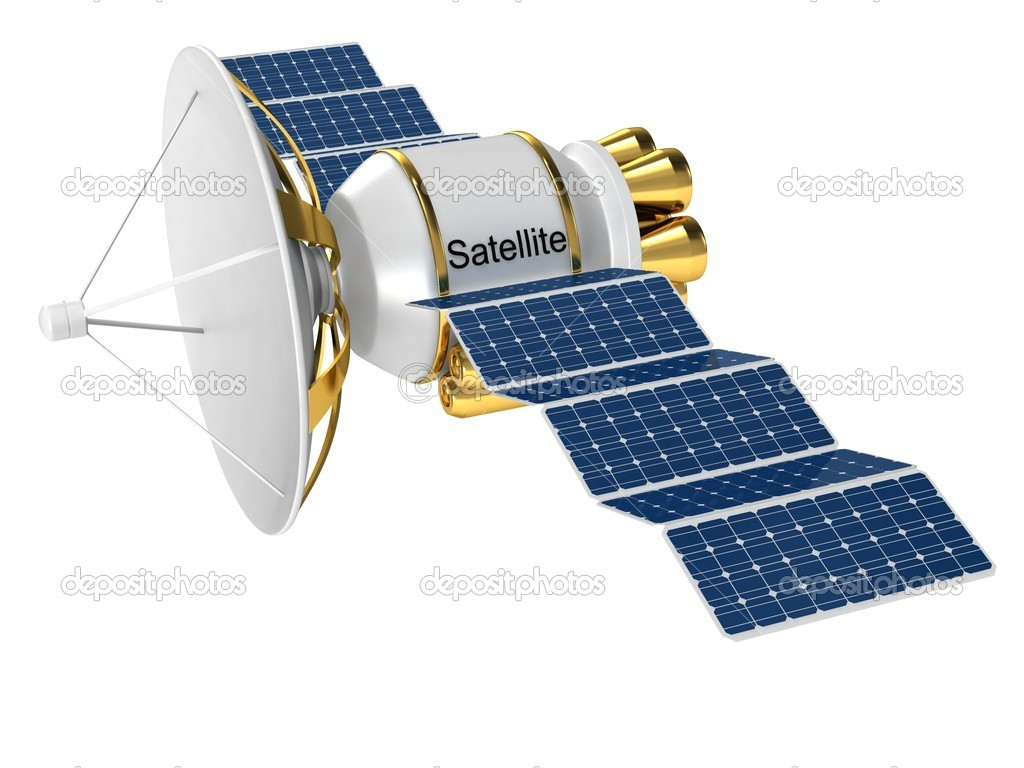 Artificial earth satellite on a white background.  Stock Photo #5016054