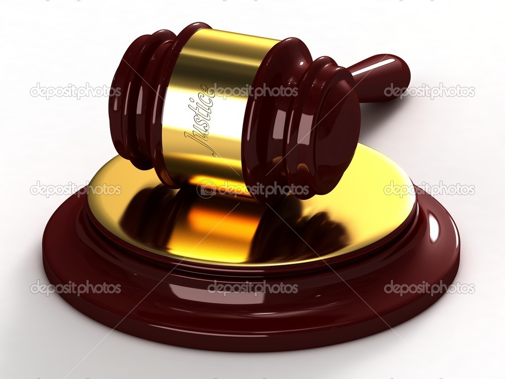Judges hammer with a gold insert and a labeled of justice. — Stock Photo #5042635