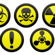 Stock Photo: Icons with symbols of hazard.
