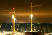 Building construction at night — Stock Photo