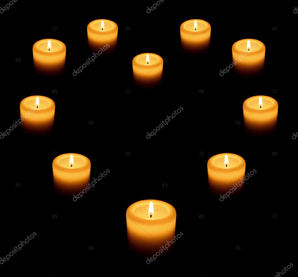 Beautiful candles heart on black — Stock Photo #4972724