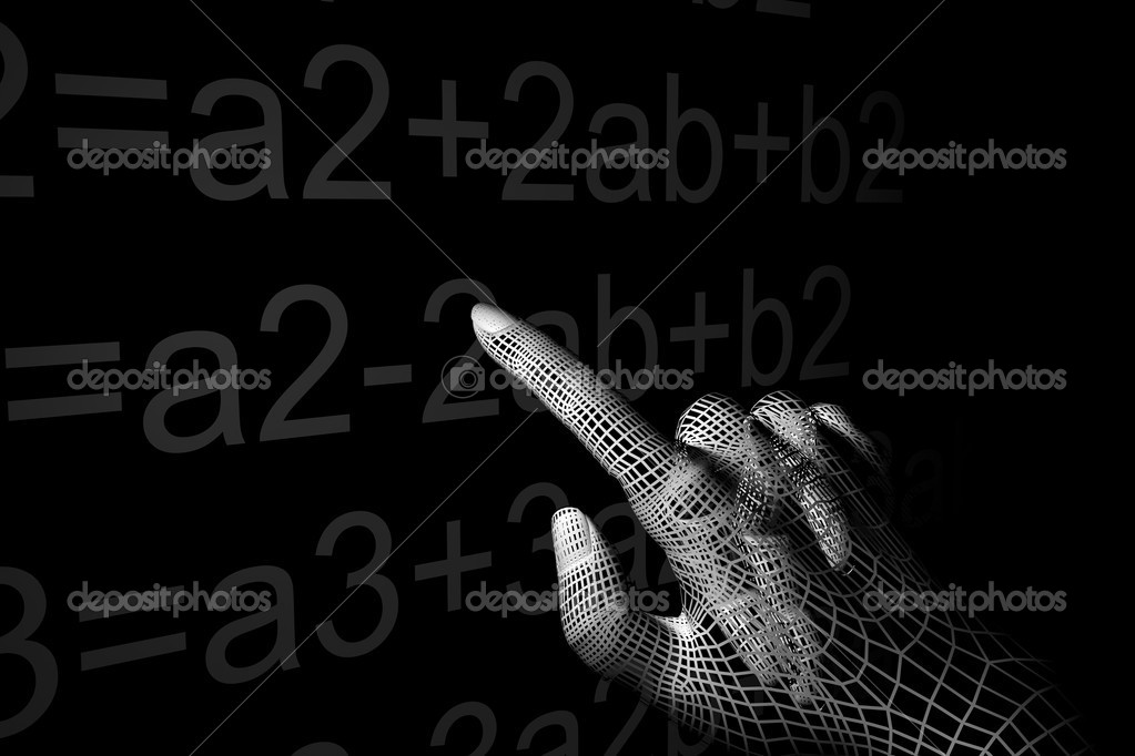 Cyber hand mathemathics 3d abstract — Stock Photo #4972778