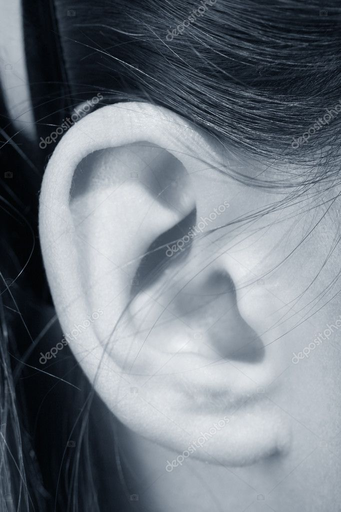 Ear girl close up listening sound — Stock Photo #5021215