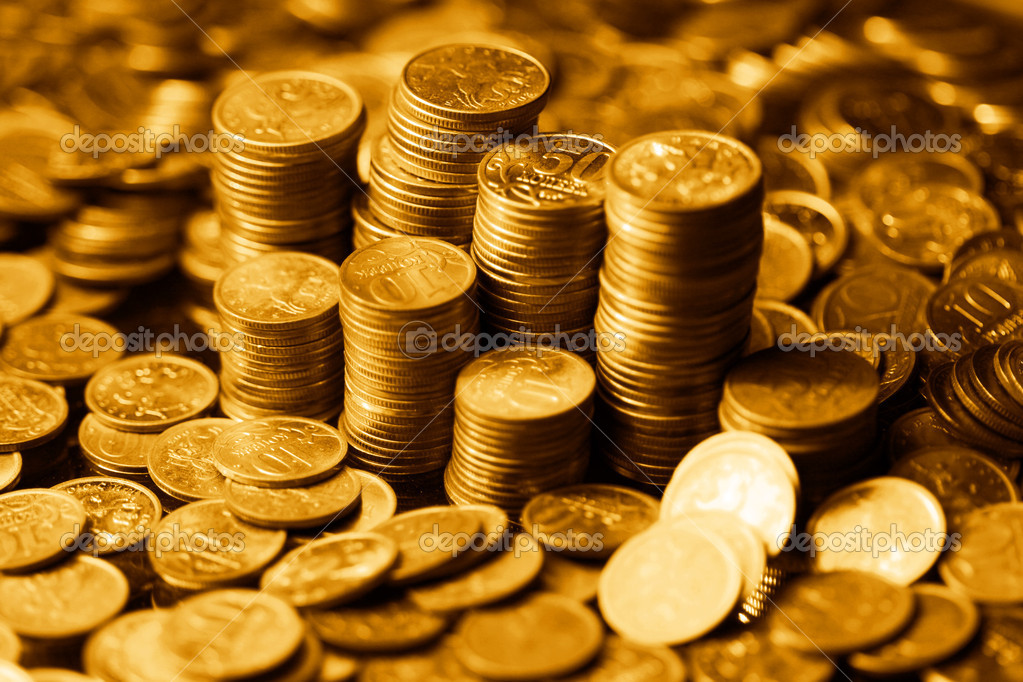 Golden coins macro close up — Foto Stock #5242439