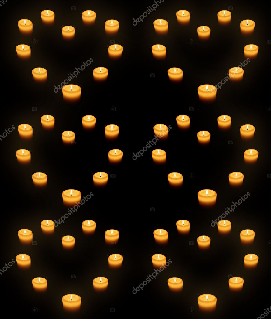 Beautiful candles heart on black — Stock Photo #5276348