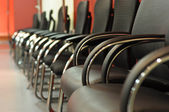 Black leather office chair close-up — Stock Photo