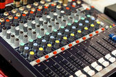 Mixer buttons equipment in audio recording studio — Stock Photo