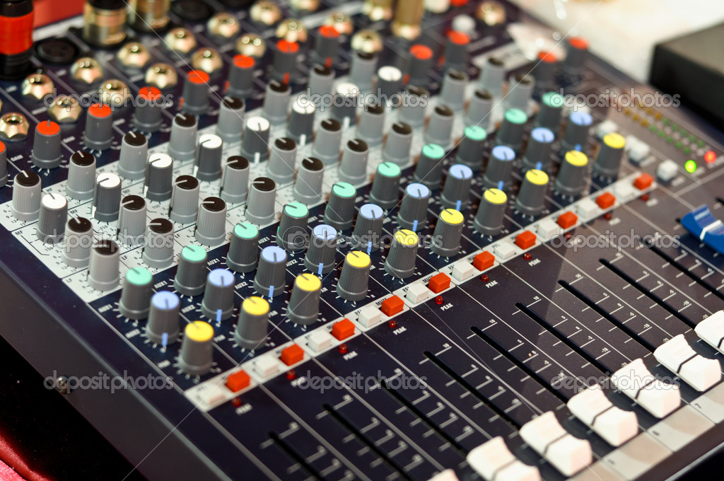 Mixer buttons equipment in audio recording studio — Stock Photo #5311419