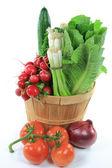 Wodden Bushel full with Vegetables for Salad. — Stock Photo