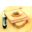 Stock Photo: Simple Sandwich over wooden serviette.