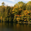 Tress  in Fall colours around the lake and their reflection in the water. — Stock Photo