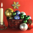 Christmas and New Years Eve decoration etude. — Stok fotoğraf