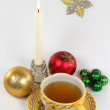 New Year morning cup of tea. - Stock Photo