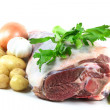 Easter Lamb meat and vegetables ready to be cooked. — Stock Photo #4733088