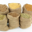 Ingredients, Seasonings, Spices and herbs in burlap  sacks. - Stock Photo