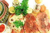 Old from Balkan Peninsula Recipe for backed pork chops. — Stock Photo