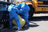Team for Hazard Materials Processing Unknown substance after car accident. — Stock Photo