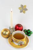 Yeni yıl sabah fincan çay. — Stok fotoğraf