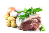 Easter Lamb meat and vegetables ready to be cooked. — Stock Photo