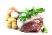 Wielkanocny baranek mięso i warzywa gotowe do gotowania. — Zdjęcie stockowe